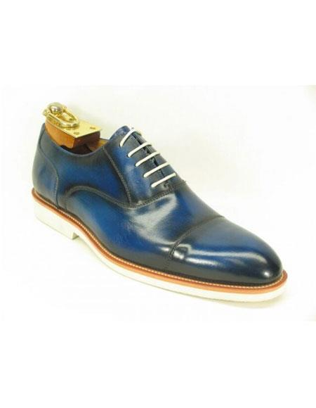 Mens Fashionable Carrucci Blue Genuine Leather Oxford Shoes With White Sole