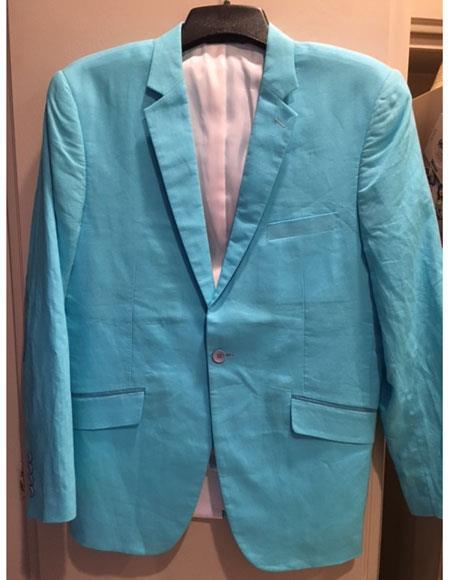 Mens Blue Linen Blazer Sport Coat Jacket