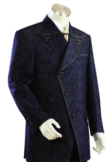 SKU#KJ1245 Men's Long Zoot Suits in Blue Color