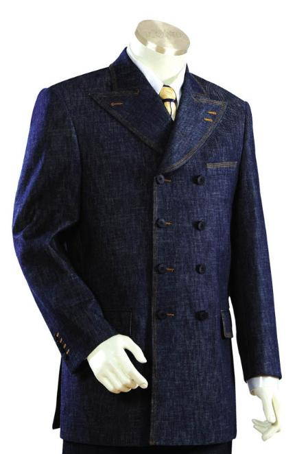 SKU#IO4455 Men's Long Zoot Suit in Blue Color