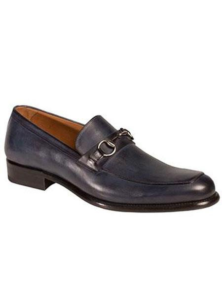 Buy AP496 Mens Blue Metal Horse Bit Calfskin Slip-on Loafers Shoes Authentic Mezlan Brand