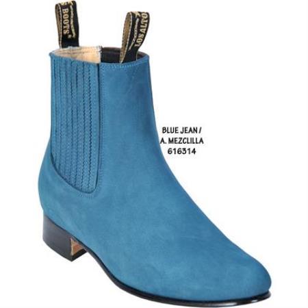 SKU#KA1902 Nobuck Short Boot - Jean Blue Ankle Dress Style For Man