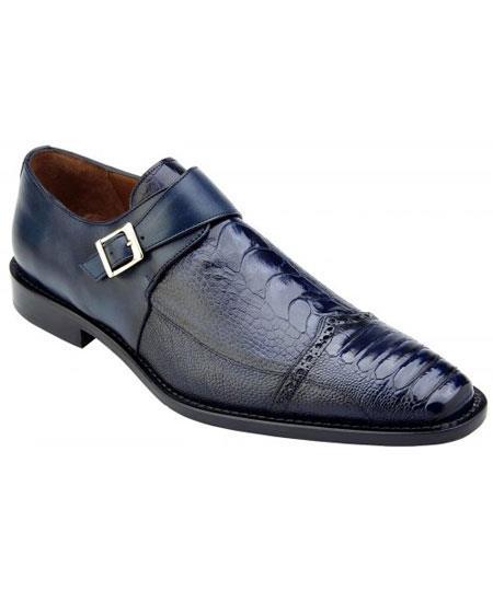 Mens Blue Genuine Ostrich & Italian Calfskin Monk Strap Stylish Dress Shoe- Mens Buckle Dress Shoes