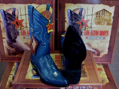 Los Altos Jean Blue Genuine Ostrich Leg Western Cowboy Boot