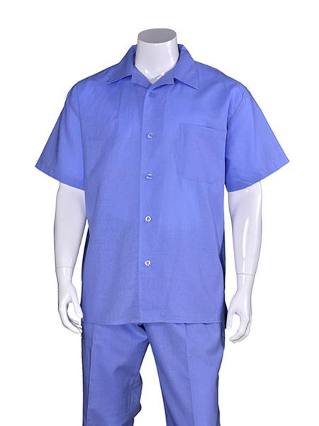 Men's Plain Short Sleeve Blue Linen Casual Casual Two Piece Walking Outfit For Sale Pant Sets Suit With Pleated Pant