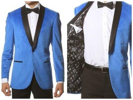 Buy PNR65 Mens 1 Button Velvet ~ Velour Tuxedo Black Trim Shawl Collar Dinner Jacket Blazer Sport Coat Turquoise Blue