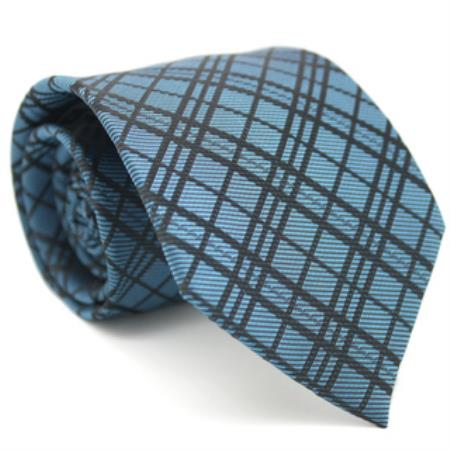 Slim Blue Gentlemans Necktie with Matching Handkerchief - Tie Set