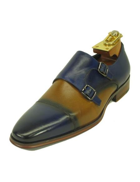 Buy SM4238 Men's Fashionable Blue/Tan Two Buckle Slip Style Due Tone Shoes