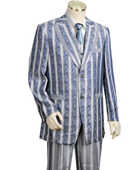 Men's Two Buttons Style comes in Blue Leisure Casual Suit For Sale
