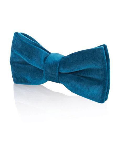 Mens Velvet Fashion Blue Bow Tie
