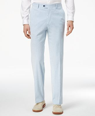 Mens Slim-Fit Stretch Performance Blue/White seersucker ~ sear sucker Suit Pants