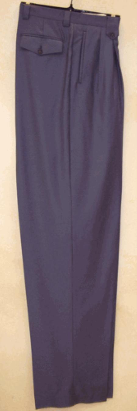 SKU#NK516 long rise big leg slacks Blue Wide Leg Dress Pants Pleated baggy dress trousers