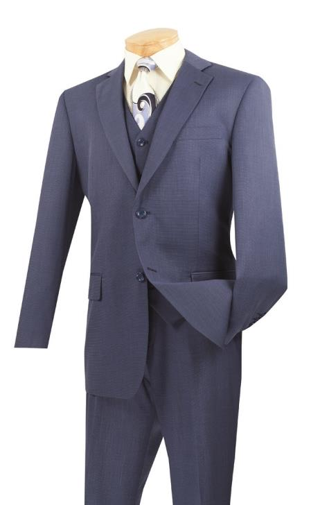 Men's 3 Piece Wool Feel Classic Suit– Blue - Three Piece Suit