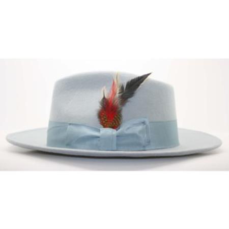 63c0a7ca Men's Sky Blue Wool Fedora Hat