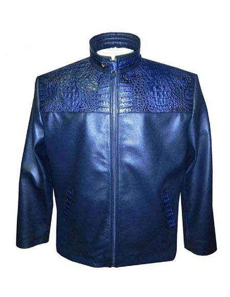 SKU#AP611 G-Gator - 2010 Blue Zipper Closure Lamb Skin/Crocodile Jacket