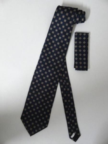 Neck Tie W/ Hanky Blue Brown Gold Square