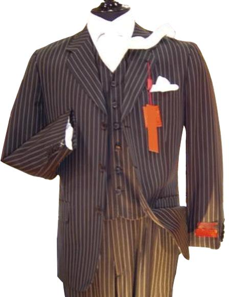 Chalk Bold Pinstripe Vested three piece 1920's 30's Fashion Look 3 ~ Three Pi