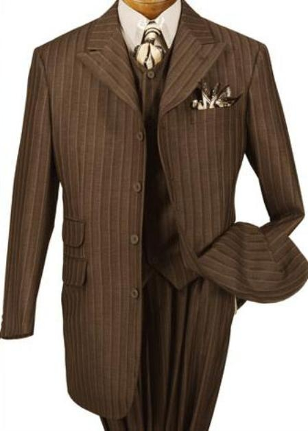 SKU# TIT264 T64PA Bold Stripe Three Piece Wide Leg Peak Lapel Zoot Suit $139