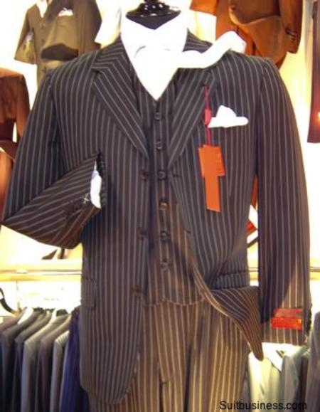 SKU# OUS132 Chalk Bold Pinstripe 3 Button Vested three piece suit $165