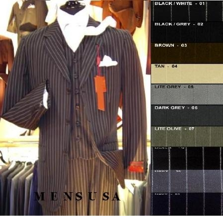SKU#SLK7 Bold White Pinstripe Vested Super fine Wool feel poly~rayon 3 Button Suit (3 pieces) Comes in 10 Colors