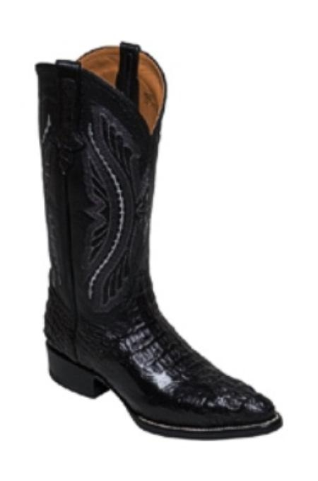 SKU#SO829 Boots caiman ~ alligator Tail in Black Medium Round Toe
