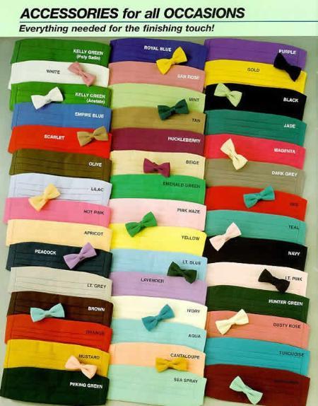 Bow Ties & Cummerbunds Silk Satin in 20 Colors