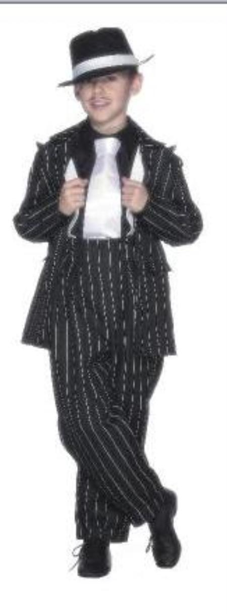 SKU# MUB9 Boy Black & White Stripe ~ Pinstripe Fashion Zoot Suits