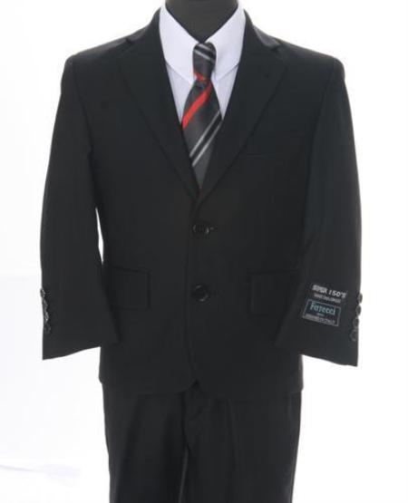 SKU#ZT576 Boys 2 piece 2 Button Suit Black