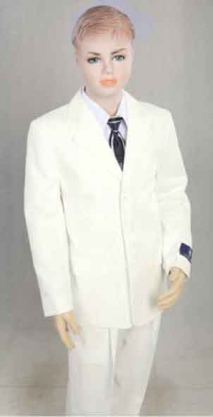 Boy's 2 Piece Off White Three Button With Kids Sizes Suit Prefect for toddler Suit wedding  attire outfits Pleated Pants