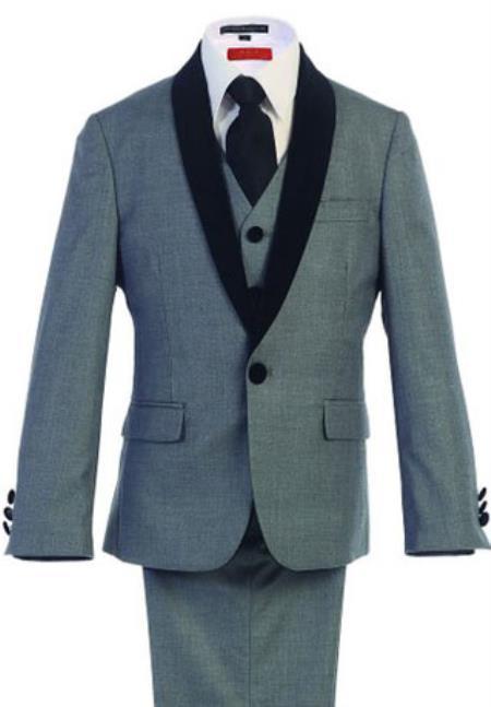 Boys Kids Sizes Tuxedo Suit AFT 3-Button Vest Classic Fit  Suede Shawl Suit with Adjustable Tie Gray