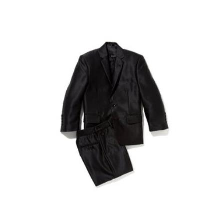 Mens Shiny Silver Black Sharkskin Boys Kids Youth 3 Piece Premium suit