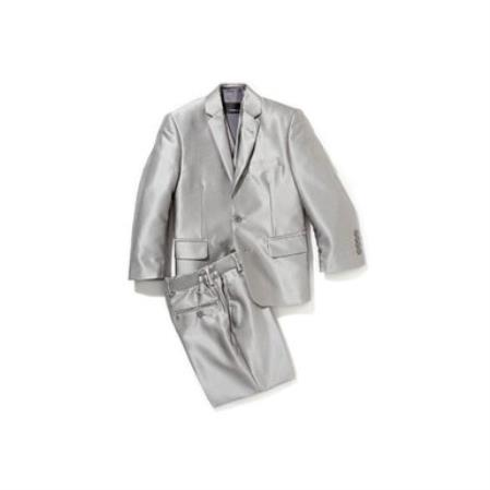 Mens Shiny Silver Grey Sharkskin Boys Kids Youth 3 Piece Premium suit Perfect for toddler wedding  attire outfits