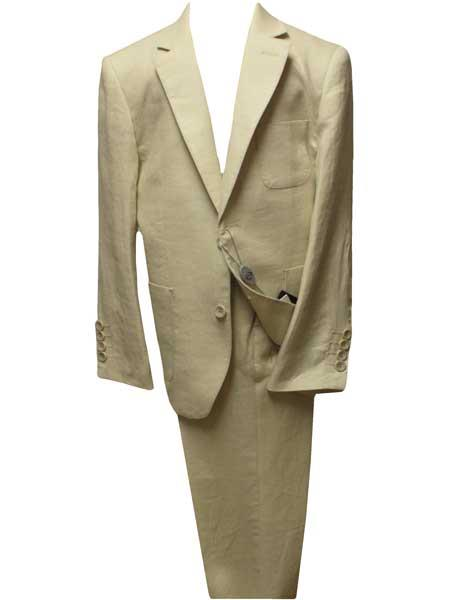 Boys Beige ~ Sand ~ Tan ~ Natural Linen Notch Lapel 2 Button Single Breasted Suit