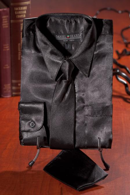 Black Satin Dress Shirt