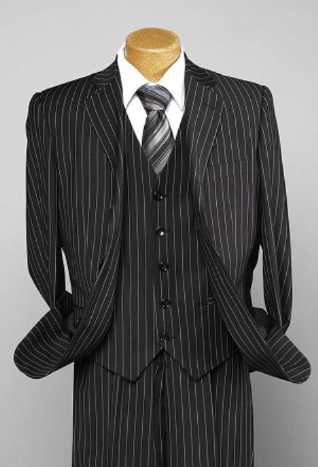 3 Piece Black Pinstripe