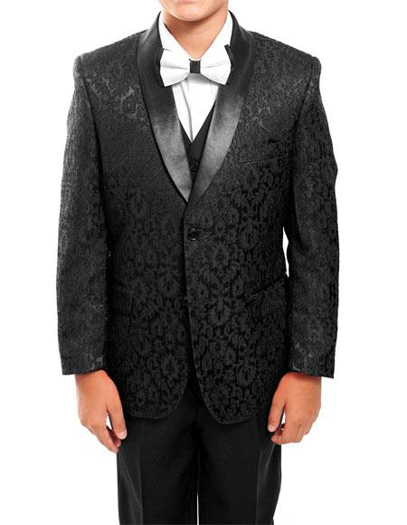 Kids ~ Children ~ Boys ~ Toddler Suit Kids Sizes Tuxedo Black Vested Suit Perfect for toddler Suit wedding  attire outfits