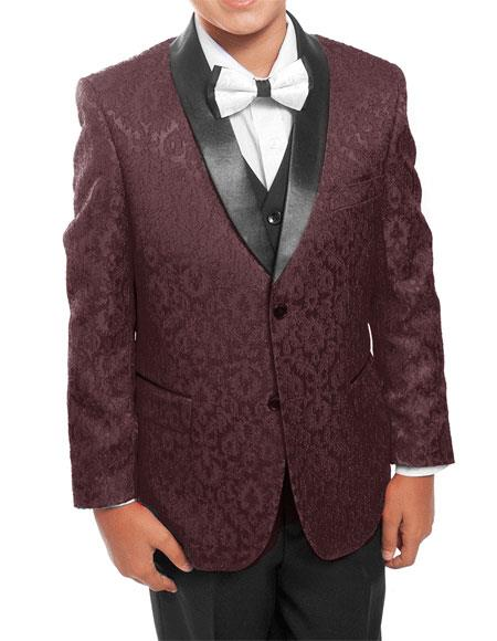 Kids ~ Children ~ Boys ~ Toddler Burgundy ~ Wine ~ Maroon Kids Sizes Color/Black Tuxedo Vested Suit Perfect For boys wedding outfits