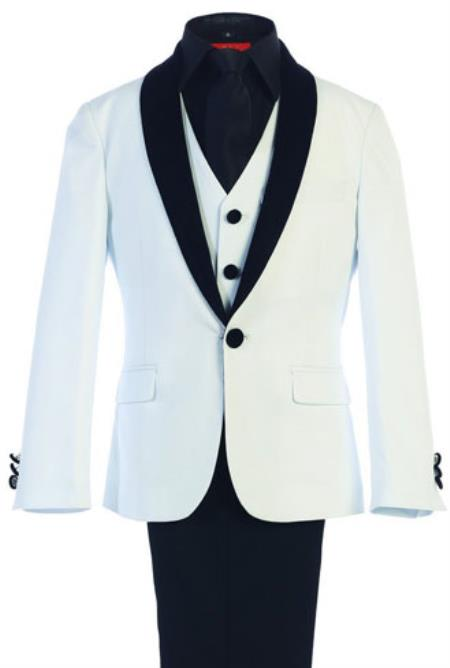 Boys White Kids Sizes Classic Fit Suede Shawl Suit