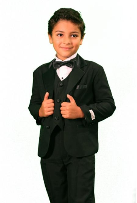 SKU#TU3088 Boys 3 Piece Fashion Designer Tuxedo Black