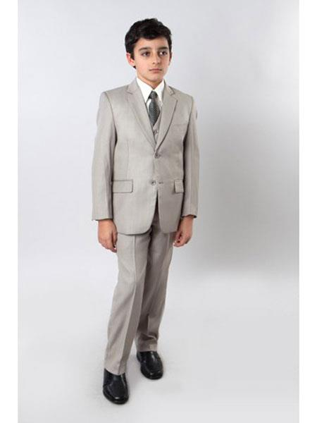 Boys Notch Lapel 5 Piece Single Breasted Kids Sizes Dark Tan Suit Perfect for toddler Suit wedding  attire outfits With Tone On Tone Pinstripe