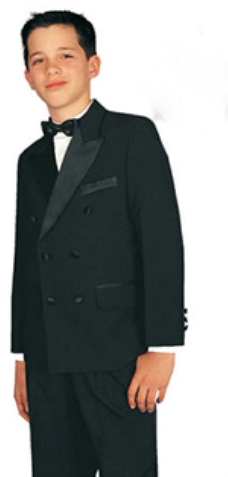 Boys double breasted Kids Sizes tuxedo Suit Perfect For boys wedding outfits Black/White