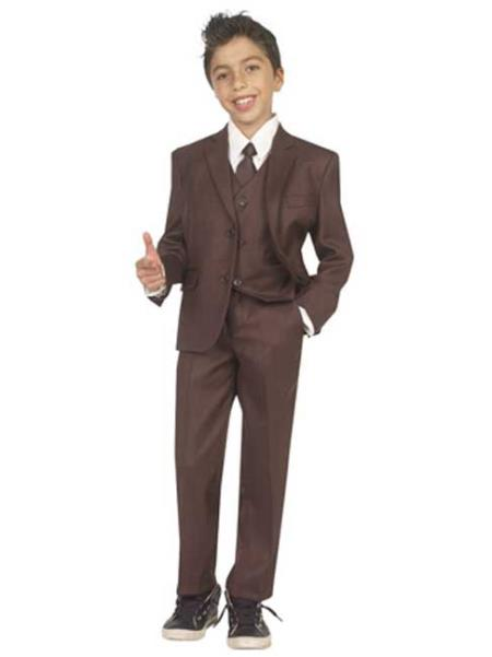 Boys Five Piece Kids Sizes Suit Perfect for toddler Suit wedding  attire outfits With Vest,Shirt And Tie Brown