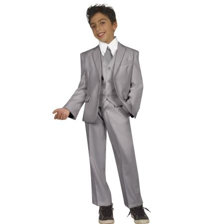 Boys Five Piece Kids Sizes Suit Perfect for toddler Suit wedding  attire outfits With Vest,Shirt And Tie Grey