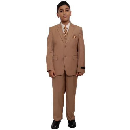 Buy BC-86 Boy's Five Piece Suit Set Camel ~ Khaki