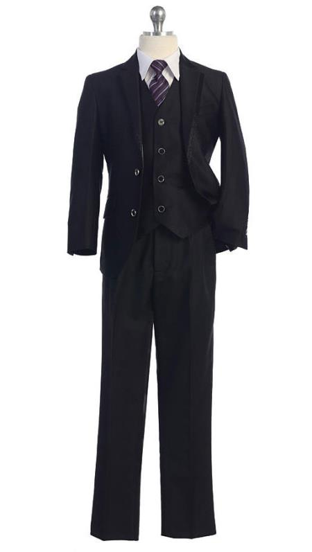 1940s Children's Clothing: Girls, Boys, Baby, Toddler Black 5 Piece Boys Kids Sizes Notched lapel Tuxedo Four Button Vest Single Breasted Jacket $99.00 AT vintagedancer.com