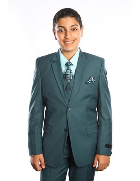 Boys Kids Toddler Fashion Color Children Suits Vested 2 Button Solid Nile Forest ~ Hunter Green