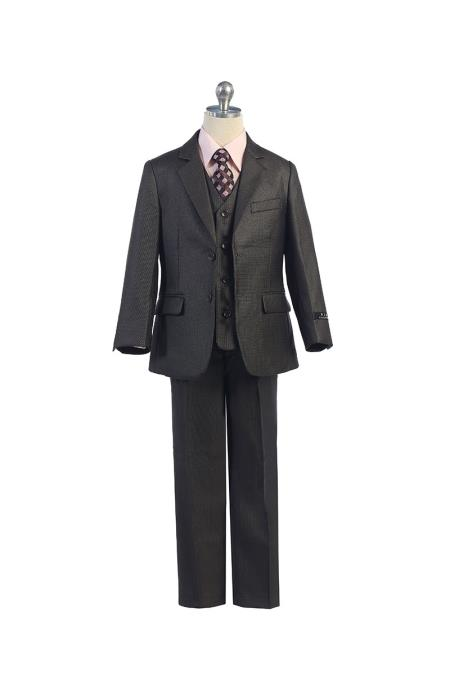 Grey Boy's Kids Sizes Vest Suit 2 Button  With Pant And Adjustable Tie Perfect for toddler Suit wedding  attire outfits