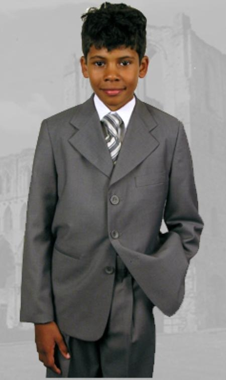 SKU:SKU43001 B-100 Gray Boys Dress Suit Hand Made