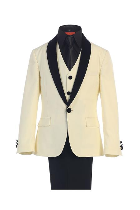 Classic Boy's Kids Sizes Fit Ivory 1 Button Suede Shawl Lapel Suit Dress Shirt Perfect for toddler Suit wedding  attire outfits