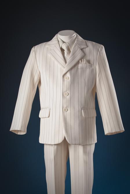 SKU#IVW5111 Ivory patterned 5 Piece Kids-Toddler-Boy Suits